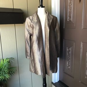 Eileen Fisher Taupe Raw Silk Lined Open Jacket